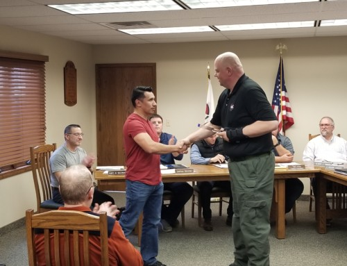 Sergeant J. Carlos Jasso receiving appreciation award for his 15 years of serving the citizens of Shipshewana